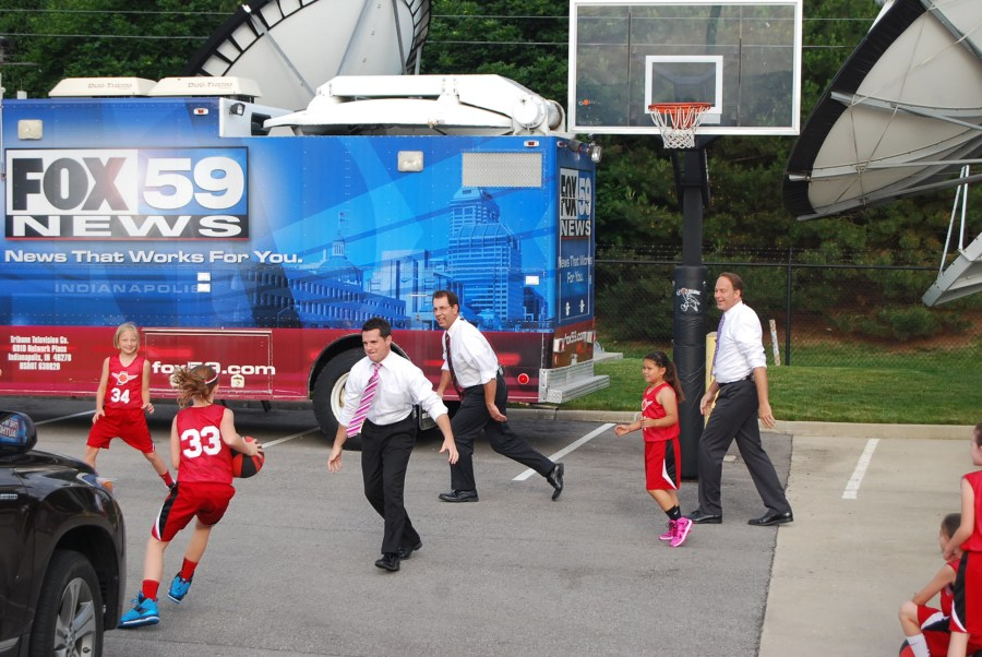 playing bball with fox59 2