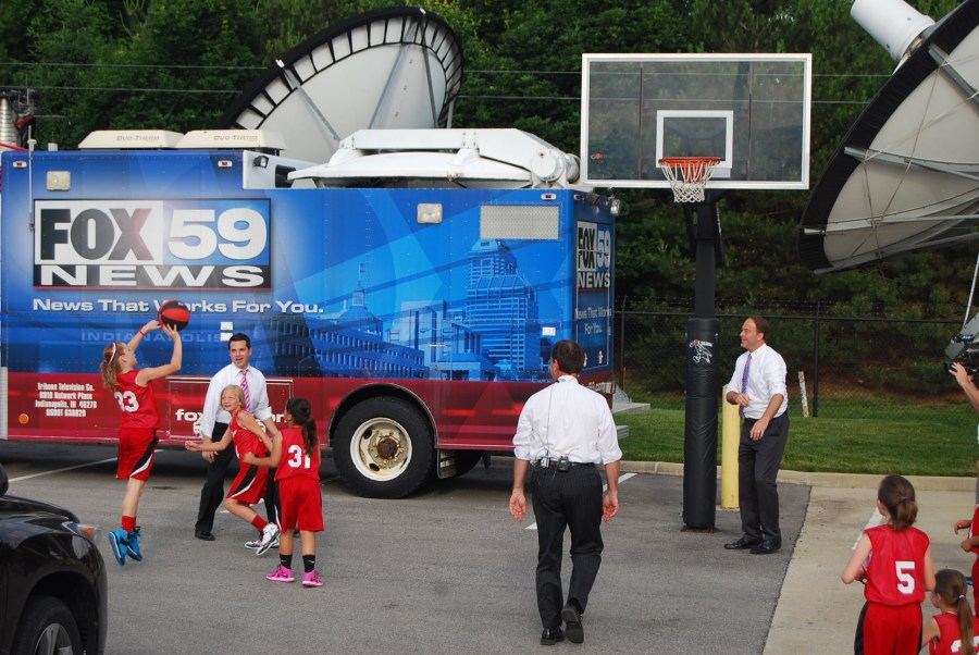playing bball with fox59 3