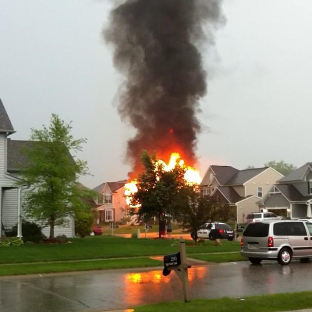 Greenwood lightning fire 2