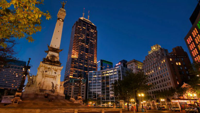 Downtown Indianapolis seen at night