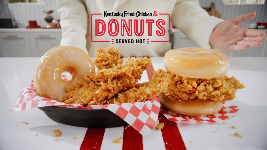 Kentucky Fried Chicken &; Donuts brings two classics together—KFC's famous Extra Crispy fried chicken paired with glazed-to-order donuts, served hot. Available nationwide beginning February 24, only for a limited time.