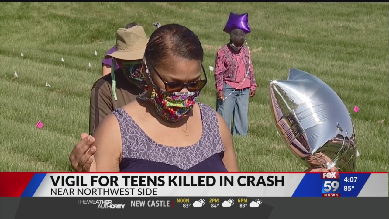 Vigil held for 3 Indy teens killed in chain reaction car crash over weekend.