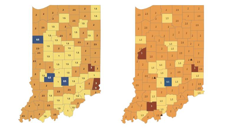 State health department's map shows 74 Indiana counties ...