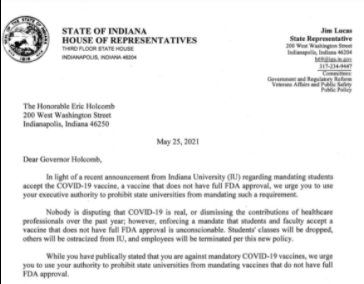 Letter from Indiana lawmakers against IU's COVID-19 vaccine mandate