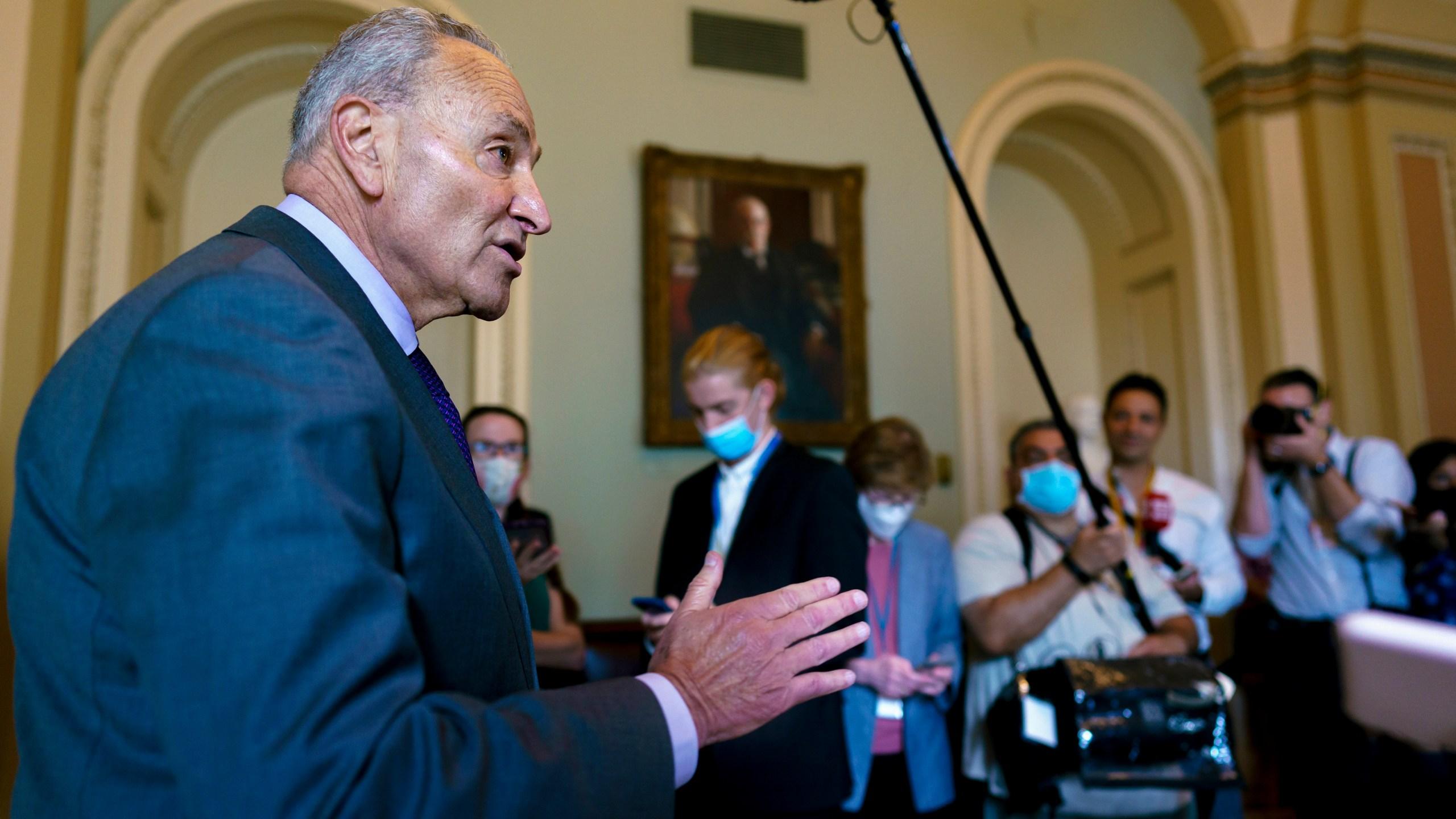 Senate Majority Leader Chuck Schumer, D-N.Y., updates reporters on the infrastructure negotiations between Republicans and Democrats,