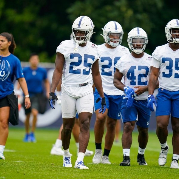 Indianapolis Colts running back Marlon Mack runs a drill during practice at the NFL team's football training camp