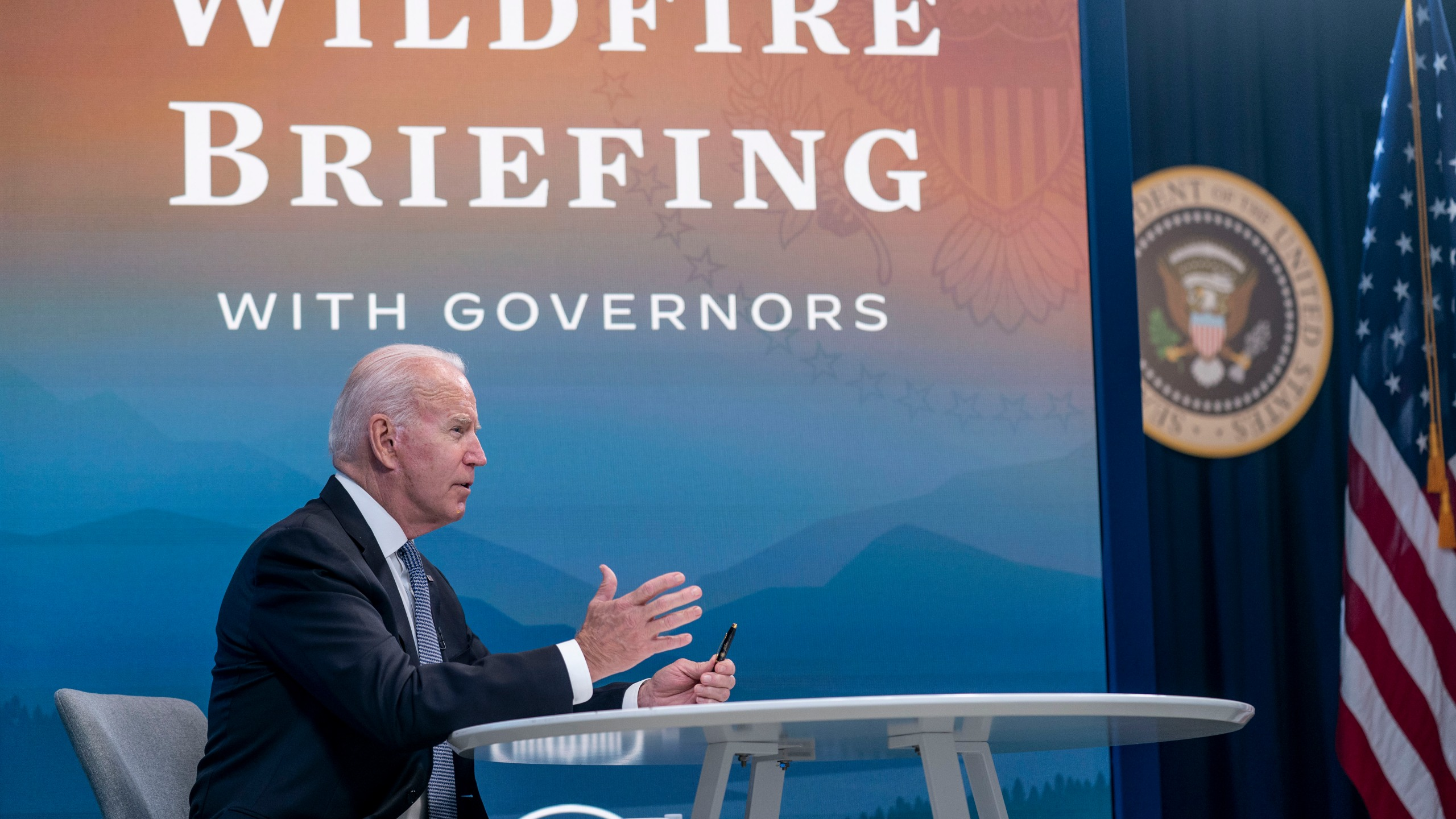 President Joe Biden speaks during a meeting with governors to discuss ongoing efforts to strengthen wildfire prevention, preparedness and response efforts
