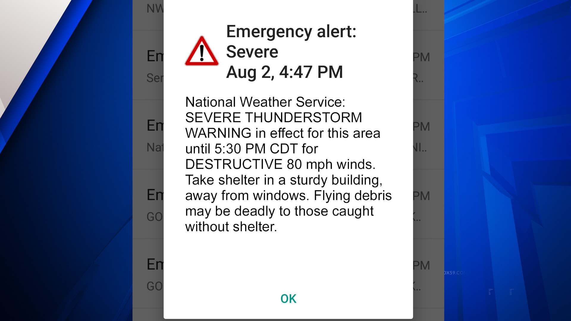 """New """"Destructive"""" Severe Thunderstorm Warning category to trigger Wireless Emergency Alerts on mobile phones"""