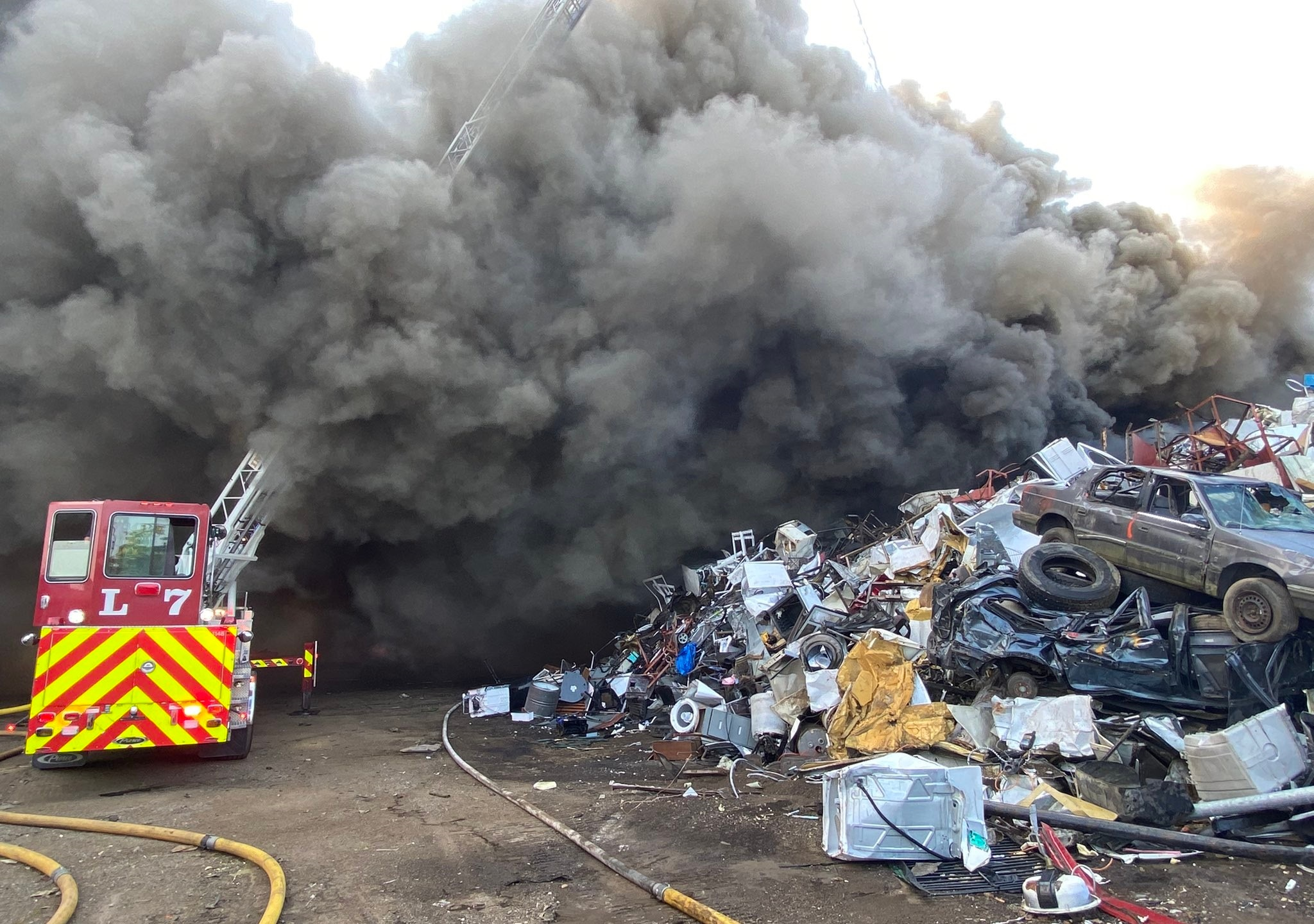 Crews battle scrap metal fire on Indianapolis' near south side