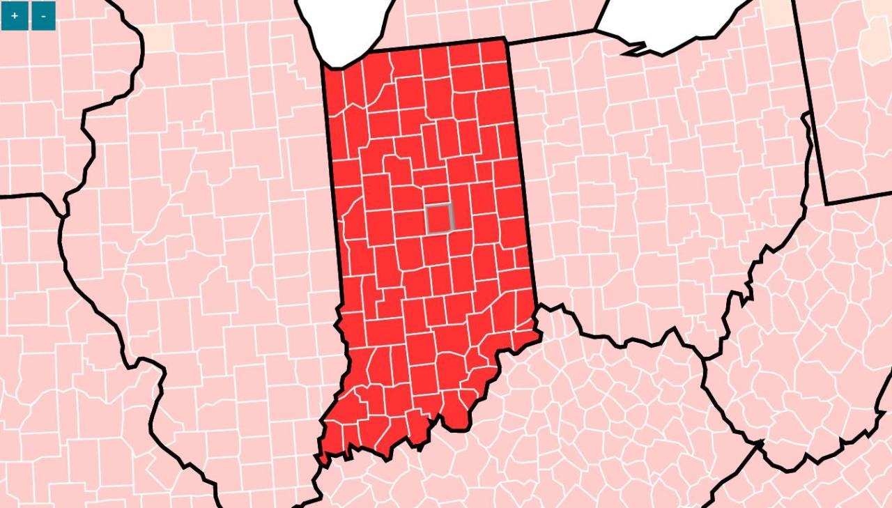 All Indiana counties in red on CDC's COVID-19 transmission map; masks recommended for more than 96% of US counties