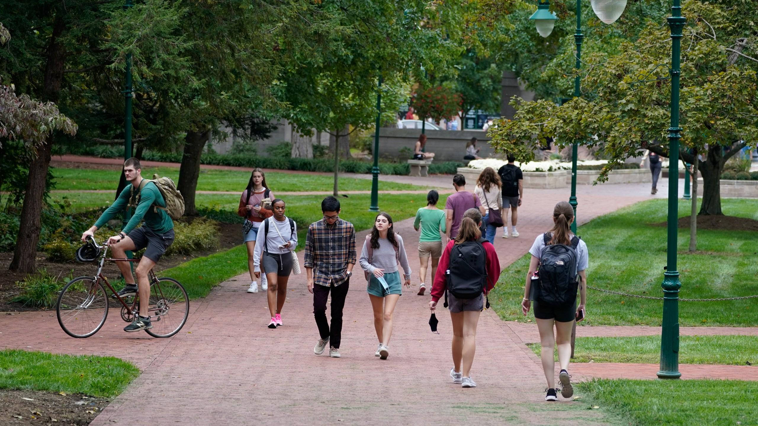 students on Indiana University campus