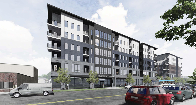 a retail and apartment complex to be built on South Meridian Street