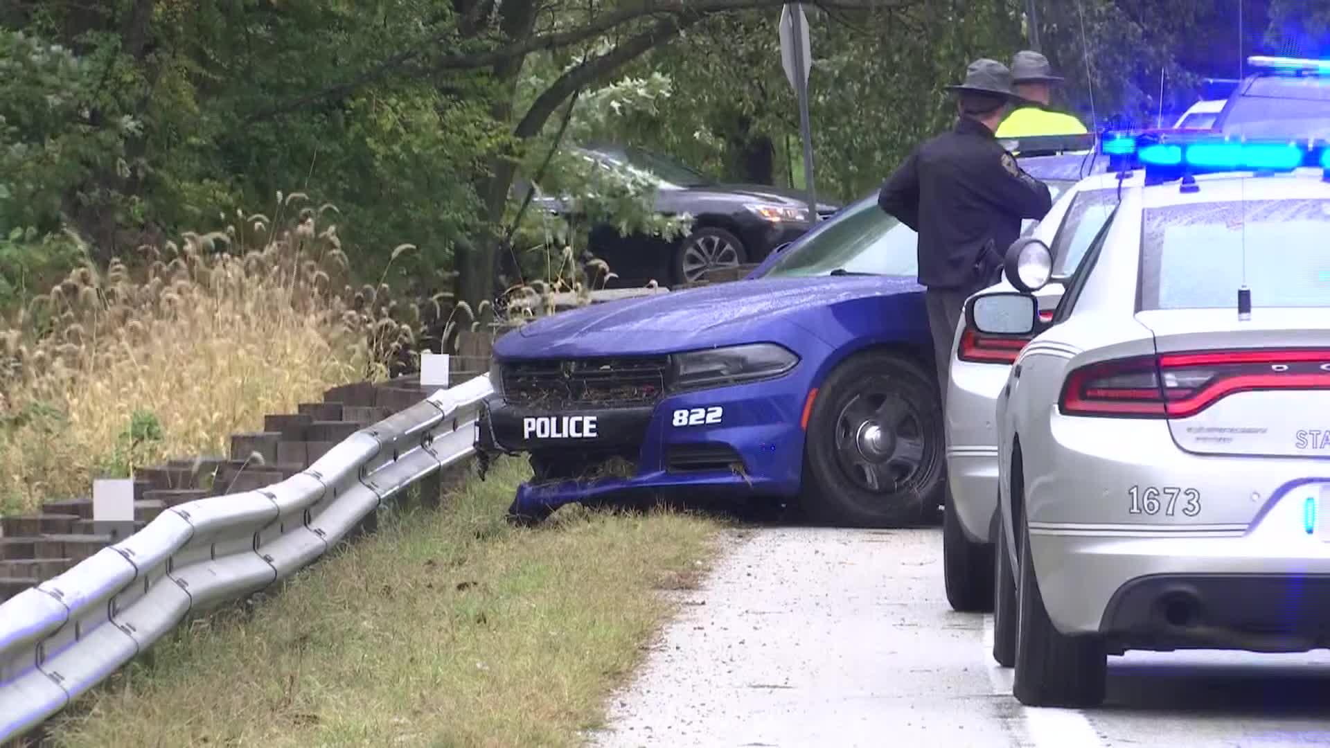 Richmond police cruiser after a crash in Ohio