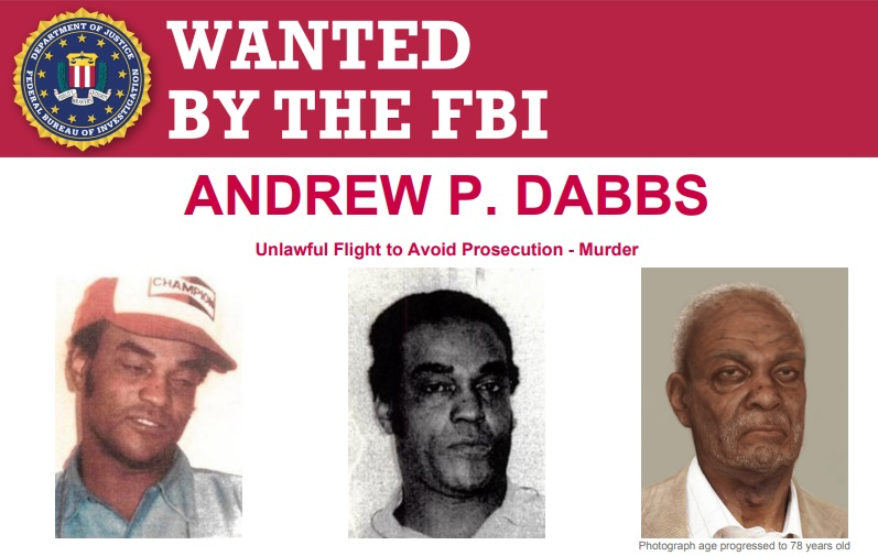 FBI wanted poster Andrew Dabbs three photos